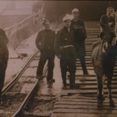 The last pit pony being led out from The Marine Colliery by Jack (Gaffer) Lewis