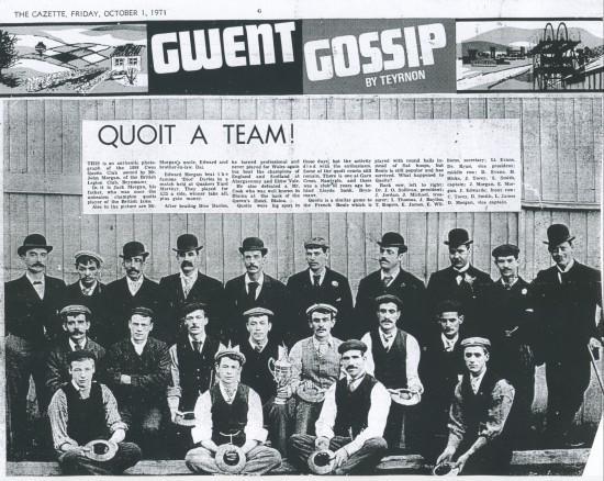 Cwm Quoits Club 1898.