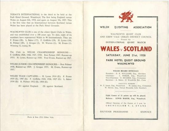 Quoits International at Waunlwyd,Wales 104 pts  Scotland 142 pts.