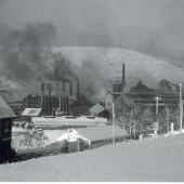 Heavy end of the Ebbw Vale Steelworks viewed to the N.W. from Waunlwyd.