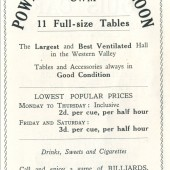 Powell's Billiard Saloon,Cwm.