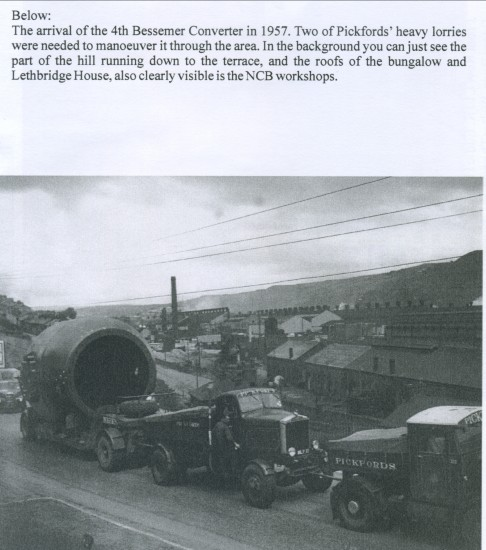 New Bessemer Converter being delivered for The Ebbw Vale Steelworks. View is North East