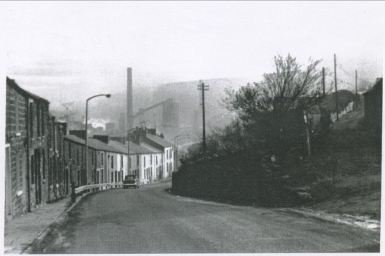 View South of Victoria Road(Gin Shop Hill) with Ebbw Vale Steelworks