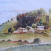 Painting of Pen Y Crug Farm in The Silent Valley or Cwm Merddach by Marilyn Hilgartner.