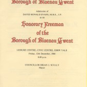 D.Ronald Evans,Honorary Freeman of The Borough of Blaenau Gwent.