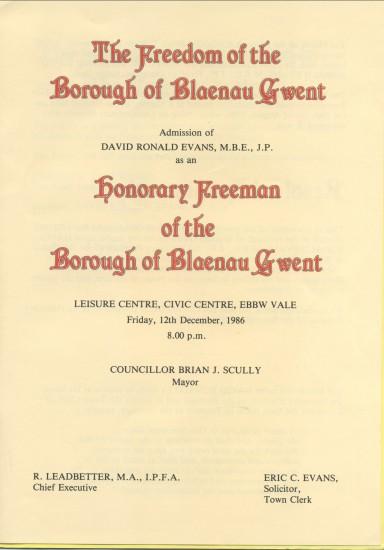 D.Ronald Evans,Honorary Freeman of The Borough of Blaenau Gwent.