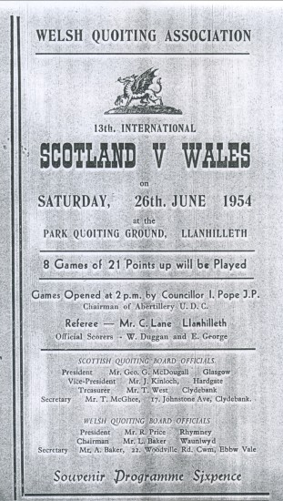 Quoits International at Llanhilleth 1954 Wales v Scotland.