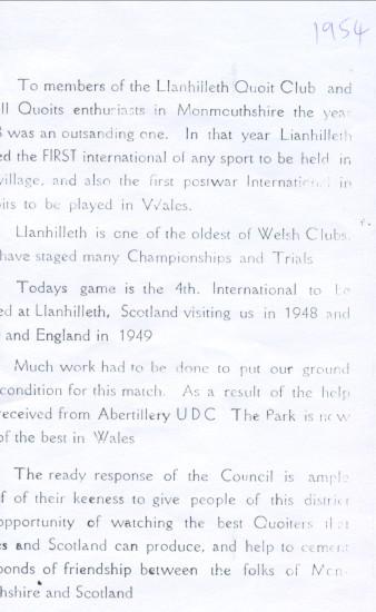Quoits International 1954 at Llanhilleth