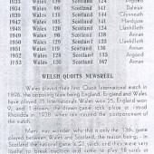 Quoits International Records of Wales v Scotland
