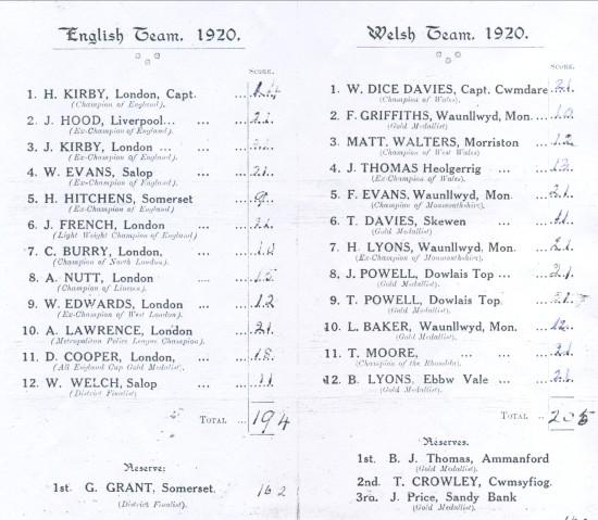 Quoits International  Wales 205 England 194 held in 1920 at Ystrad Rhondda
