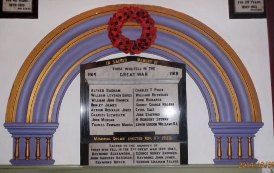 Memorial Organ at Ebenezer Baptist Church, Park Place, Abertillery