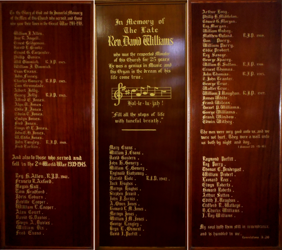 Memorial Panels - United Reformed Church, Blaina