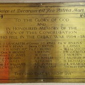WW1 memorial to men of the congregation of St. Peter's Church, Blaina