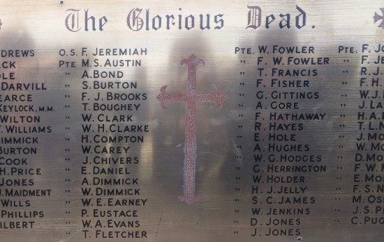 St Peter's Church Memorial to men of the parish who were killed during WW1