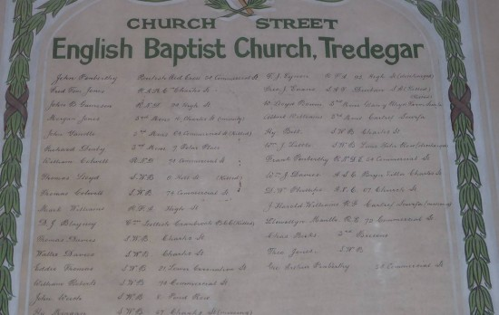 Memorial Plaque to men killed from (former) English Baptist Church, Tredegar