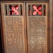 Memorial rood screen in Saint Michael's Parish Church in Abertillery
