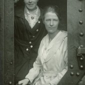 Polly Lloyd and Phoebe James at the door of Julian, 28 or 29 June 1918 at Ebbw Vale