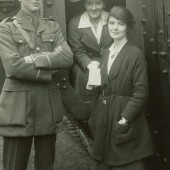 At the door of Julian the tank, 28 or 29 June 1918 at Ebbw Vale