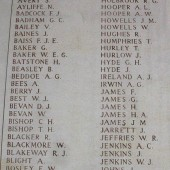 Section of one of the panels of the Menin Gate Memorial in Ypres commemorating men from the 3rd Mons whose graves are not known. Thomas Boughey bottom left. | Alan James