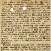 Letter from Ted Gill to South Wales Argus on 18th February 1915