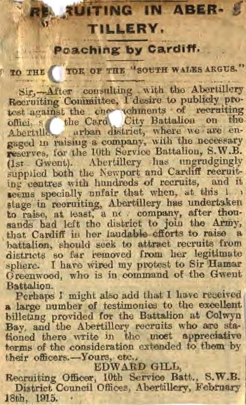 Wartime recruitment in Abertillery