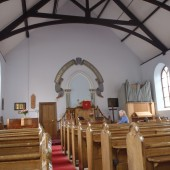Bailey Street Presbyterian Chapel interior - WW1 plaque right of pulpit