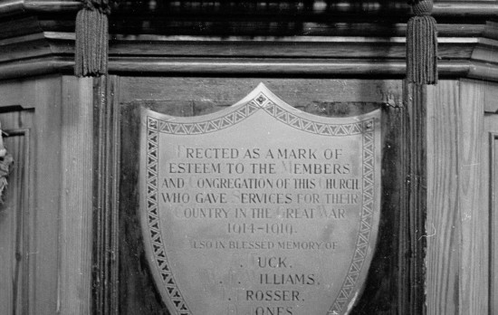 Lost Memorial Plaque from Hermon Baptist Church, Nantyglo