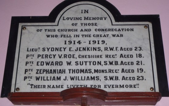Siloh Baptist Church, Bridge Street, Tredegar - Memorial Plaque to men killed in WW1