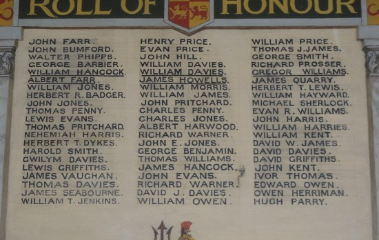 PRINCETOWN & TAFARNAUBACH WELCOME HOME FUND ROLL OF HONOUR