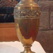 Metal vase dedicated to the memory of Private Charles Bowles