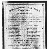 WW1 memorial plaque, Bethesda Presbyterian Church, Ebbw Vale