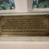 Sergeant William Baxter Memorial Plaque, St James' Church, Tredegar