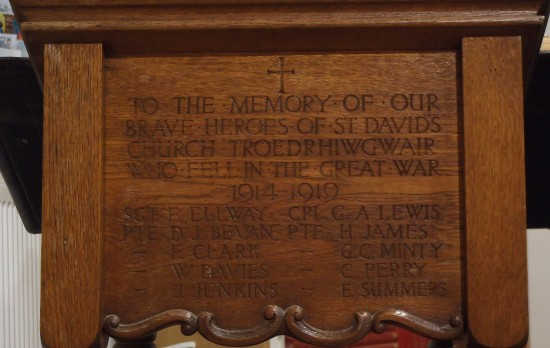 Troedrhiwgwair WW1 Memorial Oak Lectern - now Prayer desk at St. James' Church, Tredegar