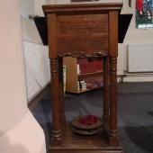 Troedrhiwgwair WW1 Memorial Oak Lectern - now Prayer desk at St. James' Church, Tredegar
