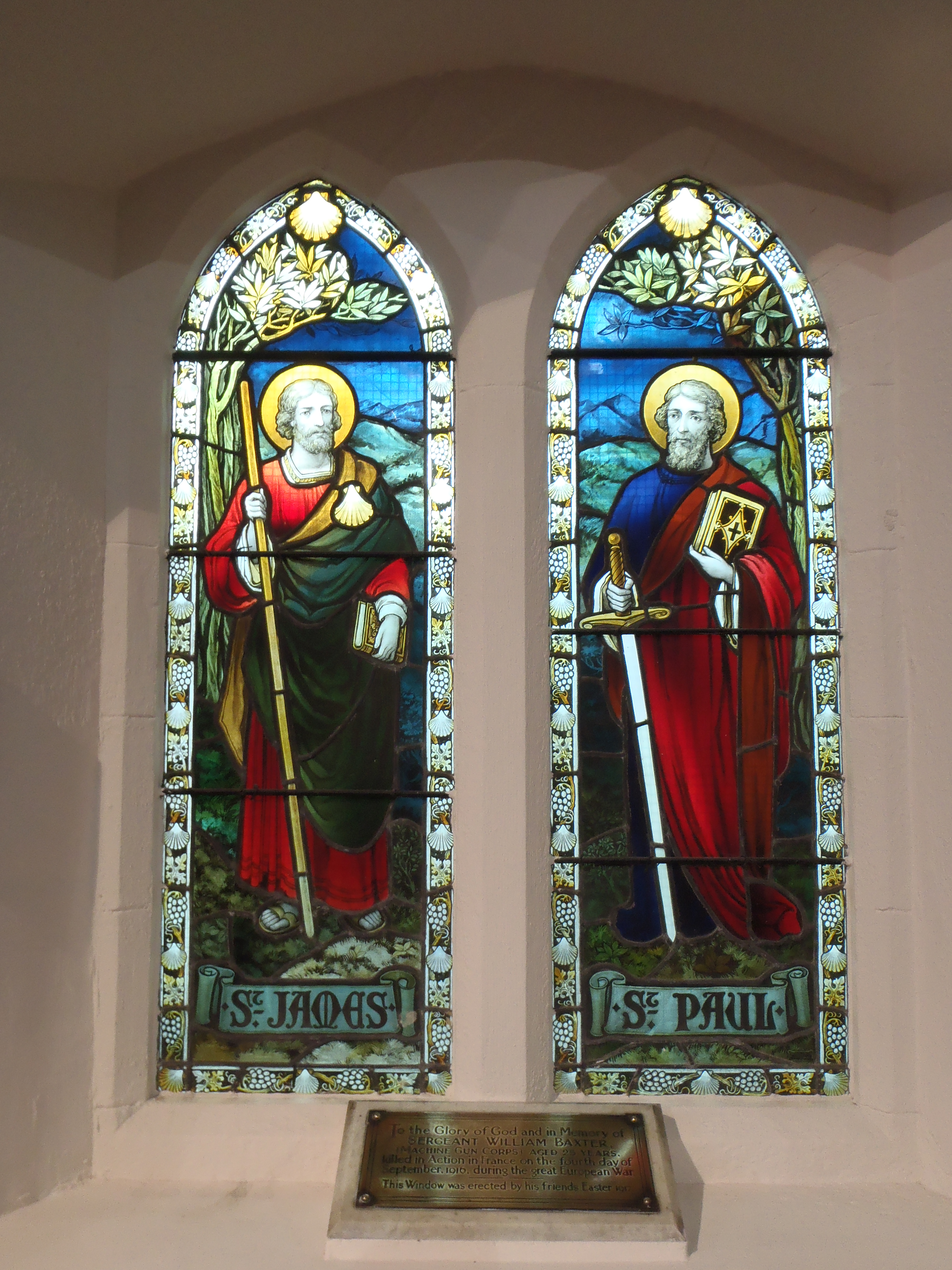 Sergeant William Baxter Memorial Window & Plaque, St James' Church, Tredegar