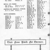 Dedication booklet showing names on Abertillery Civic War Memorial Part 3 of 3