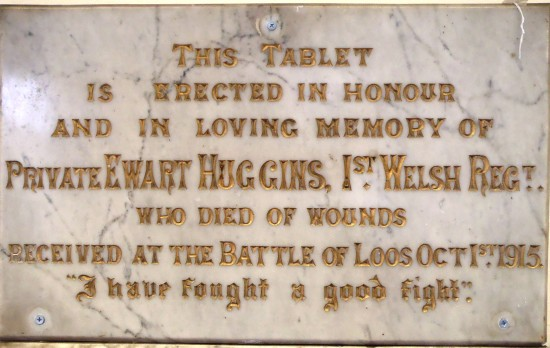 Private Ewart Huggins' WW1 memorial