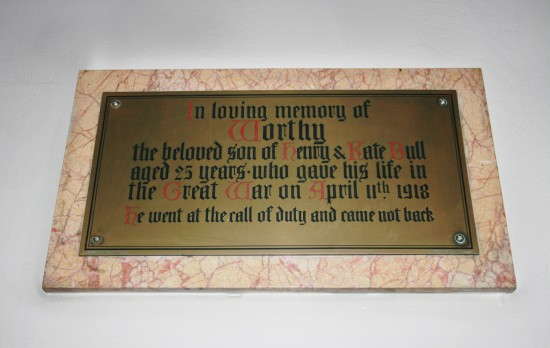 Worthy Bull Memorial Plaque, St David's Church, Beaufort