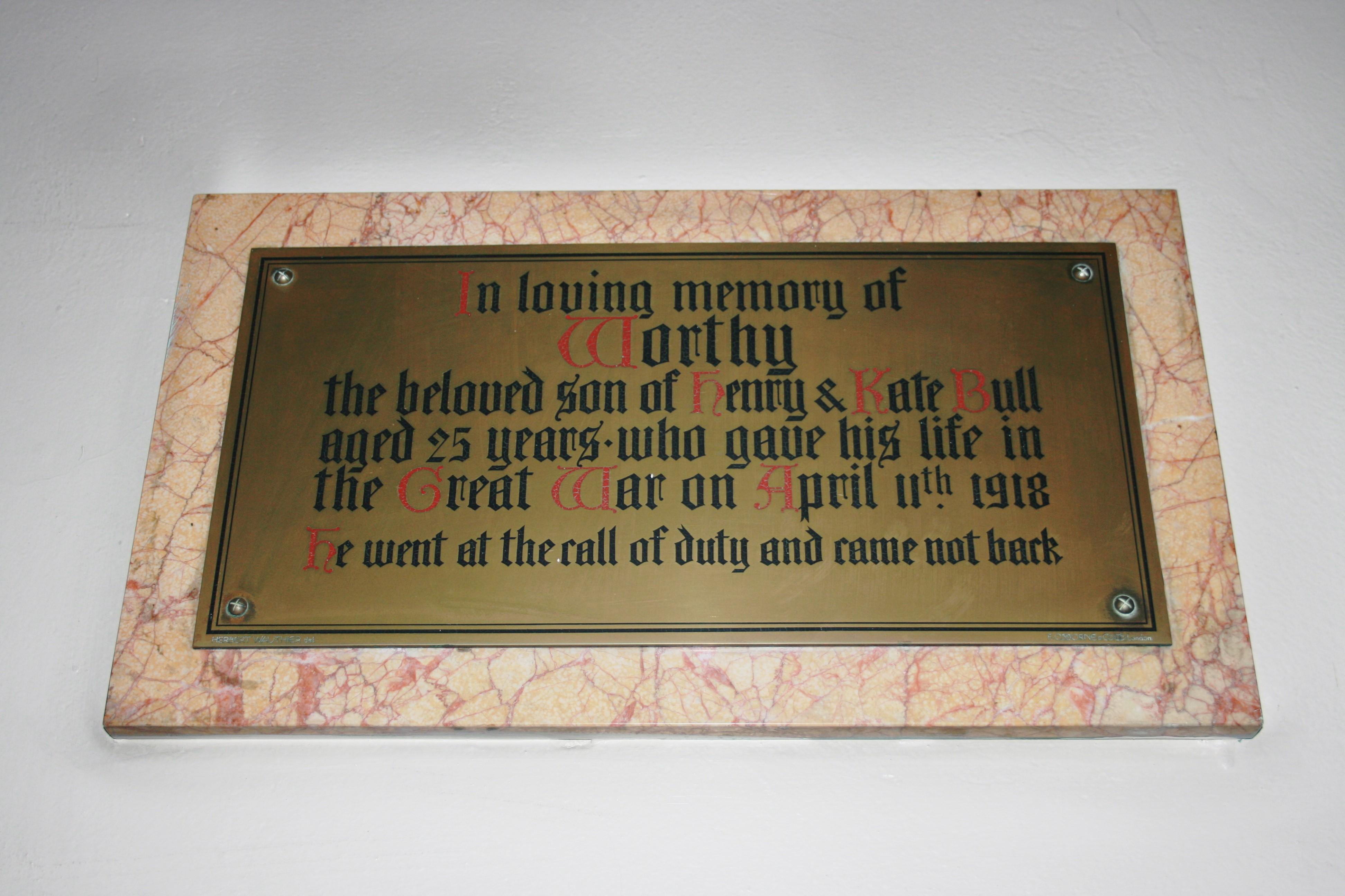 Worthy Bull Memorial Plaque, St David's Church, Beaufort