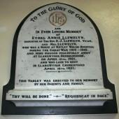 Ethel Annie Llewelyn Memorial Plaque, St David's Church, Beaufort