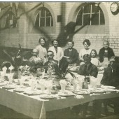 Interior of Cwm Drill Hall, 1930s. Alex Forbes DCM & family in photograph.