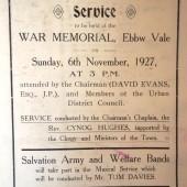 Order of Armistice Sunday Service, Ebbw Vale, 1927 (1)