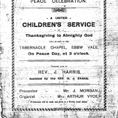 Children's Service, Tabernacle Church, Peace Day, Saturday 19 July 1919