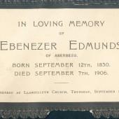 Funeral Card - Ebenezer Edmunds