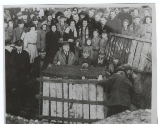 Extracting the lump of coal from the level at the top of sirhowy for the 1951 festival of britain