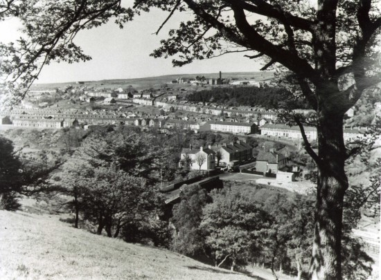 View from Heathfield towards St James Hospital Tredegar