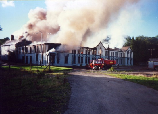 Old TIC offices on fire Tredegar
