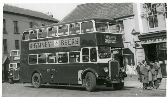 Red & White Bus at the Circle Tredegar
