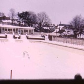 Tredegar swimming pool at Bedwellty Park in the Snow
